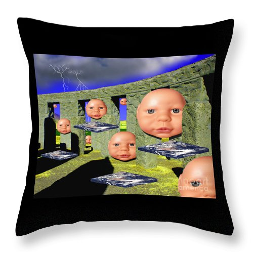 Landscape Throw Pillow featuring the digital art Virtual Stonehedge by Keith Dillon