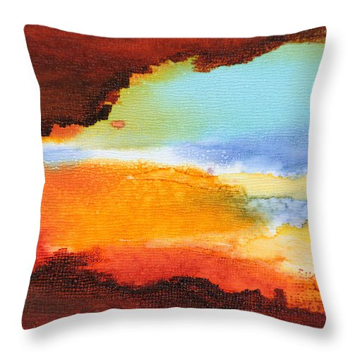 Abstract Throw Pillow featuring the painting Visible Love - A - by Sandy Sandy