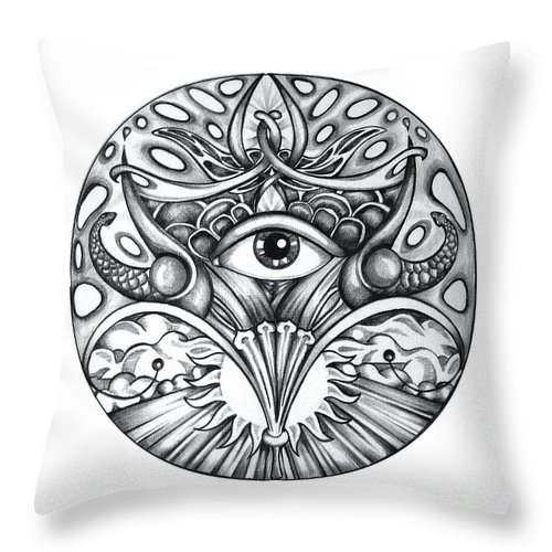 Eye Throw Pillow featuring the drawing Vision by Shadia Derbyshire
