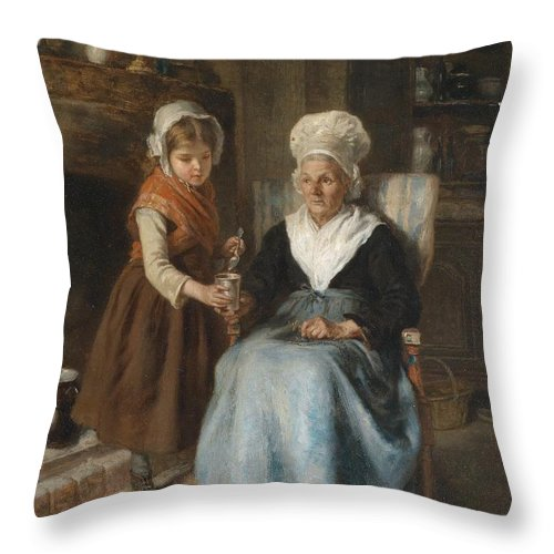 Andre Henri Dargelas Visit To Grandmother Throw Pillow featuring the painting Visit To Grandmother by Celestial Images