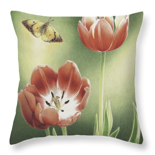 Tulips Throw Pillow featuring the drawing Visitation by Amy S Turner