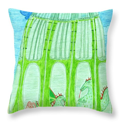 Toddlers' Abc Throw Pillow featuring the drawing Visiting Jonathan The Jellyfish by Leonore VanScheidt