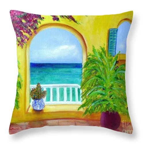 Patio Throw Pillow featuring the painting Vista Del Agua by Laurie Morgan