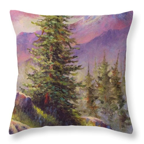 Mountain Throw Pillow featuring the painting Vista View by David G Paul