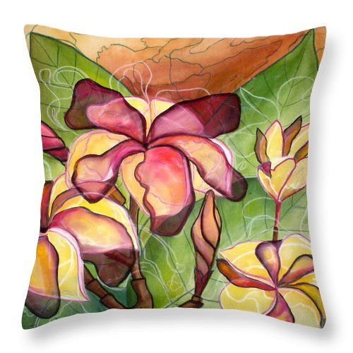 Plumeria Throw Pillow featuring the painting Vivian's Plumeria by Kimberly Kirk