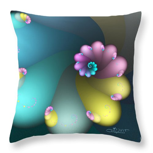 Fractal Throw Pillow featuring the digital art Vivid Whisper by Jutta Maria Pusl