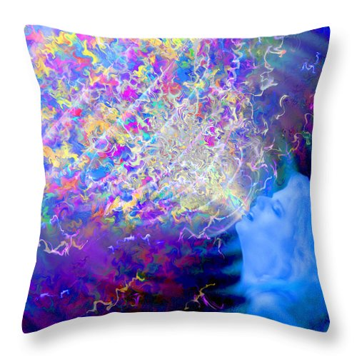 Voice Throw Pillow featuring the painting Voice by Robby Donaghey