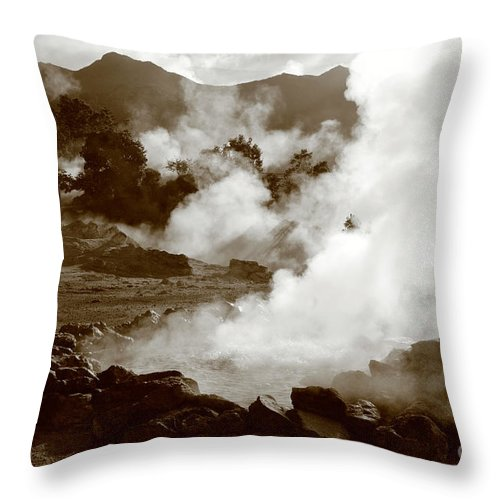 Azores Throw Pillow featuring the photograph Volcanic Steam by Gaspar Avila