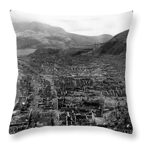 1902 Throw Pillow featuring the photograph Volcano: Mount Pelee, 1902 by Granger