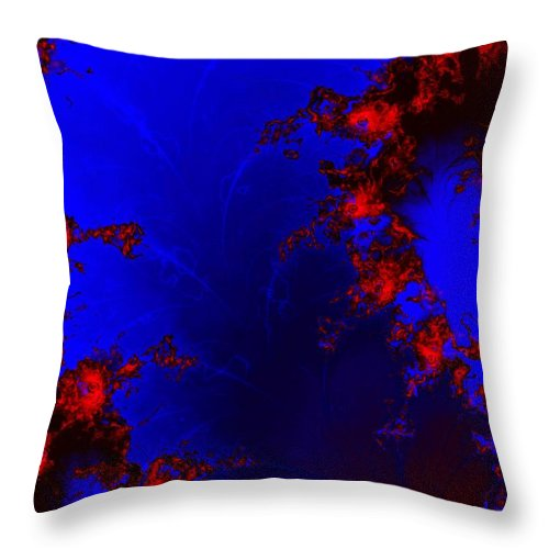 Lava Flow Wind Rythm Volcano Red Blue Throw Pillow featuring the digital art Volcano by Veronica Jackson