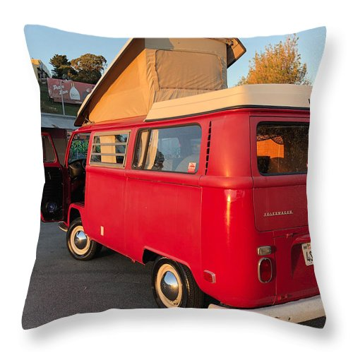 Volkswagen Bus T2 Westfalia Throw Pillow featuring the photograph Volkswagen Bus T2 Westfalia by Jackie Russo