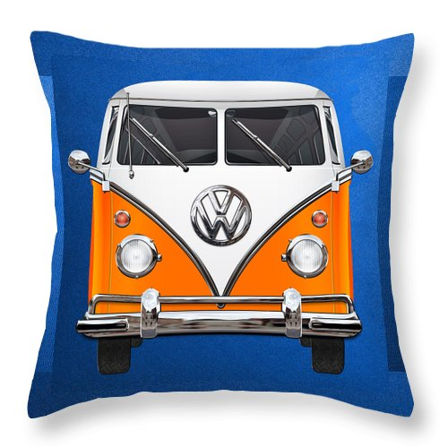 'volkswagen Type 2' Collection By Serge Averbukh Throw Pillow featuring the photograph Volkswagen Type - Orange and White Volkswagen T 1 Samba Bus over Blue Canvas by Serge Averbukh