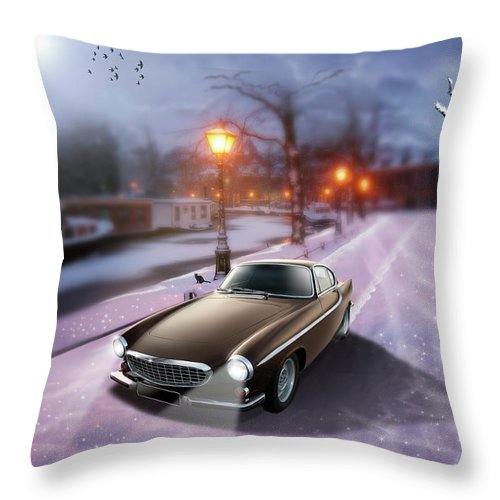 Volvo P1800 Throw Pillow featuring the digital art Volvo P1800 Snow Scene by Linton Hart
