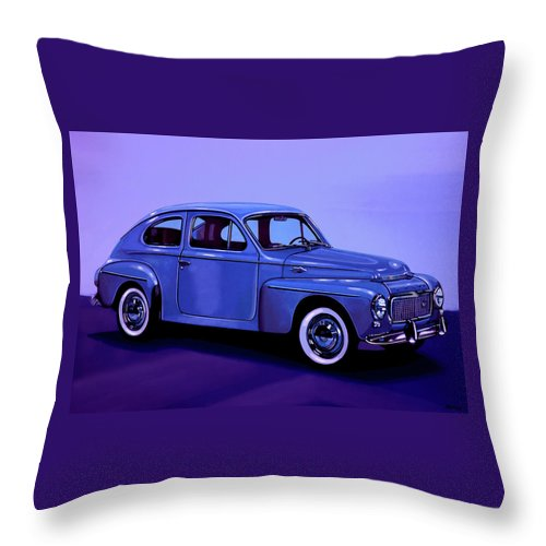 Volvo Pv544 Throw Pillow featuring the mixed media Volvo Pv 544 1958 Mixed Media by Paul Meijering
