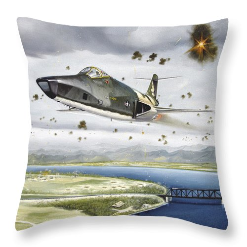 Military Throw Pillow featuring the painting Voodoo Vs The Dragon by Marc Stewart