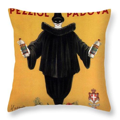 Vintage Throw Pillow featuring the mixed media Vov Pezziol - Italian Liquer - Padova, Italy - Vintage Advertising Poster by Studio Grafiikka