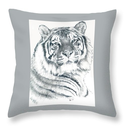 Tiger Throw Pillow featuring the drawing Voyager by Barbara Keith