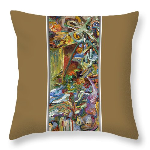 Color Throw Pillow featuring the painting Vsp Xvii With Buddha by Juel Grant