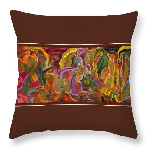 Flowers Throw Pillow featuring the painting Vsp Xxiv -marigolds by Juel Grant