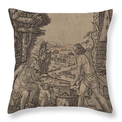 Throw Pillow featuring the drawing Vulcan, Venus, And Eros by Marcantonio Raimondi