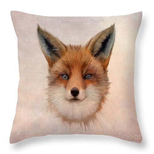 Animal Throw Pillow featuring the painting Vulpes Vulpes by John Edwards