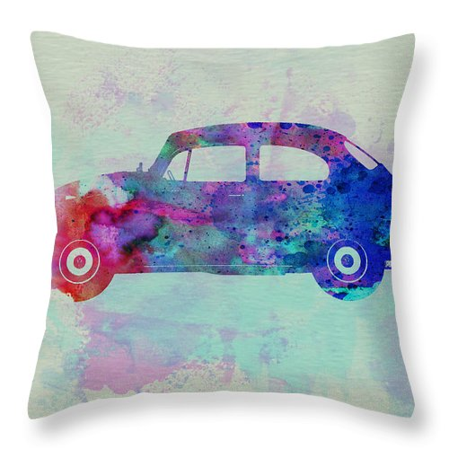 Vw Beetle Throw Pillow featuring the painting Vw Beetle Watercolor 1 by Naxart Studio
