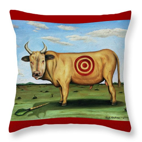Bull Throw Pillow featuring the painting W T F by Leah Saulnier The Painting Maniac