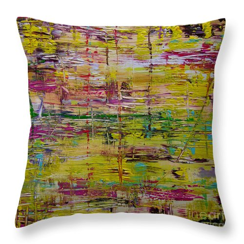 Abstract Painting Throw Pillow featuring the painting W65 - Wake Up by Kunst mit Herz Art with Heart