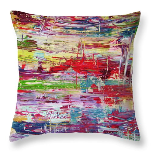 Abstract Painting Throw Pillow featuring the painting W66 - Goodbye Yesterday by Kunst mit Herz Art with Heart