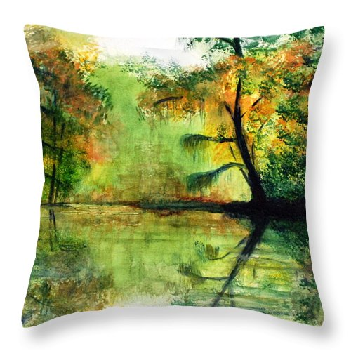 Waccamaw Throw Pillow featuring the painting Waccamaw River Sc by Phil Burton
