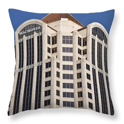 Roanoke Throw Pillow featuring the photograph Wachovia Tower Roanoke Virginia by Teresa Mucha