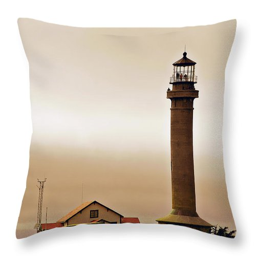 Point Arena Lighthouse Throw Pillow featuring the photograph Wacky Weather At Point Arena Lighthouse - California by Christine Till