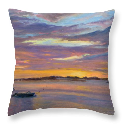Landscape Throw Pillow featuring the painting Wades Beach Sunset by Phyllis Tarlow