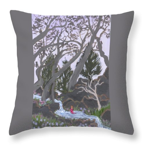 Landscape Throw Pillow featuring the painting Wading by Dawn Senior-Trask