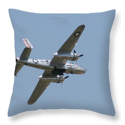 Air Throw Pillow featuring the photograph Wafb 09 B25 Mitchell Bomber 2 by David Dunham