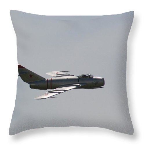 Airplane Throw Pillow featuring the photograph Wafb 09 Mig 17 Russian 3 by David Dunham