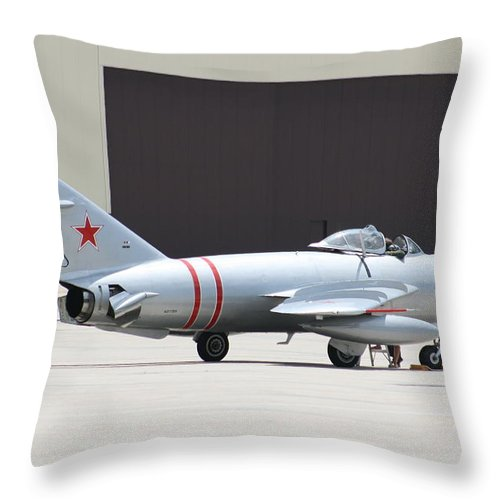 Airplane Throw Pillow featuring the photograph Wafb 09 Mig 17 Russian 6 by David Dunham