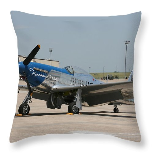 Airplane Throw Pillow featuring the photograph Wafb 09 P-51 Mustang 3 - Darling Of The Sky by David Dunham