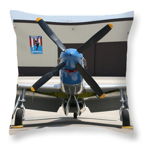 Airplane Throw Pillow featuring the photograph Wafb 09 P51 Mustang 2 - Darling Of The Sky by David Dunham
