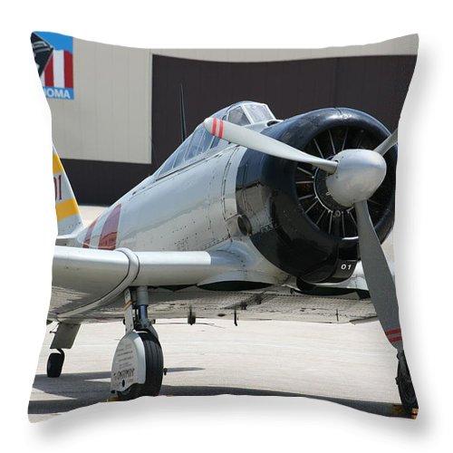 Airplane Throw Pillow featuring the photograph Wafb 09 T-6 Tora 101 Zero 7 by David Dunham