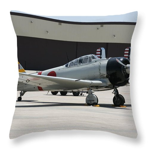 Airplane Throw Pillow featuring the photograph Wafb 09 T-6 Tora 101 Zero 8 by David Dunham