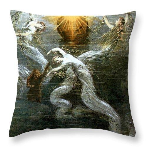 1876 Throw Pillow featuring the photograph Wagner: Das Rheingold by Granger