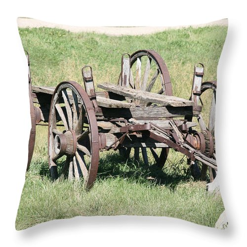 Old Wagon Ranch Horse Drawn Antique Wheels History Throw Pillow featuring the photograph Wagon Aged by Andrea Lawrence