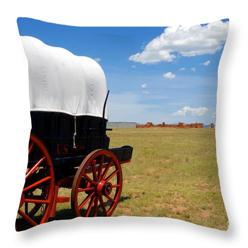 Fort Union New Mexico Throw Pillow featuring the photograph Wagon At Old Fort Union by David Lee Thompson