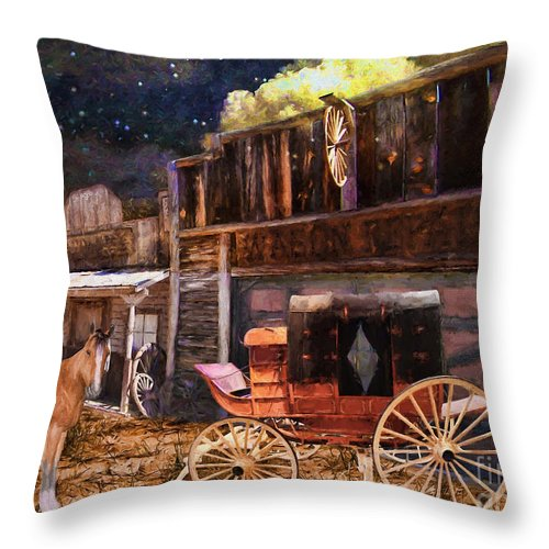 Wagon Repair Throw Pillow featuring the painting Wagon Repair by L Wright