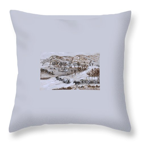 Western Throw Pillow featuring the painting Wagon Train Crossing River by Dawn Senior-Trask