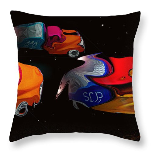 Pick Up Truck Throw Pillow featuring the painting Wagon Train To The Stars 2 by Charles Stuart