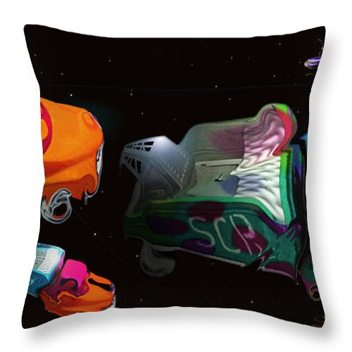 Trucks Throw Pillow featuring the painting Wagon Train To The Stars 3 by Charles Stuart
