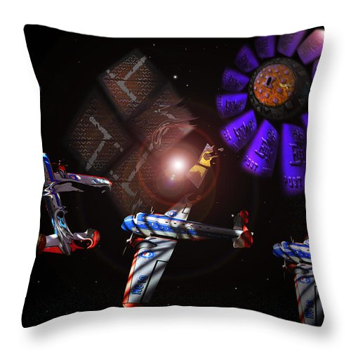 Vortex Throw Pillow featuring the digital art Wagon Train To The Stars by Charles Stuart