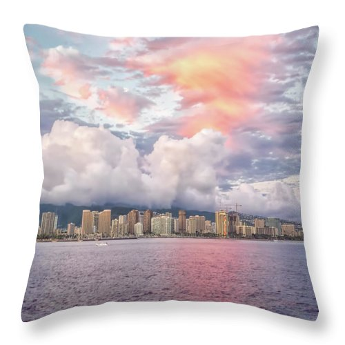 Waikiki Beach Throw Pillow featuring the photograph Waikiki Beach Sunset by Martin Belan